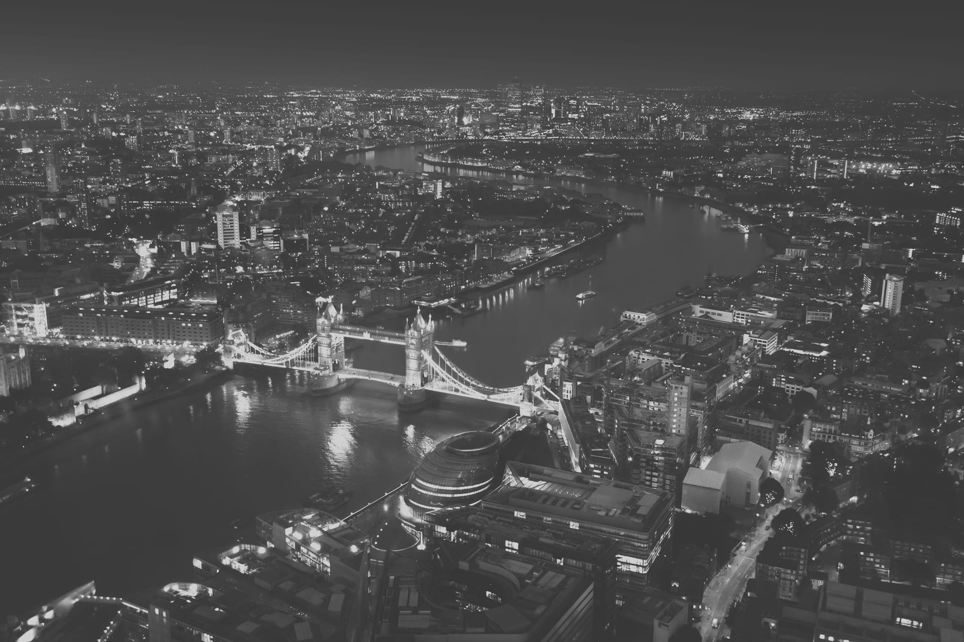 City of London from above at night